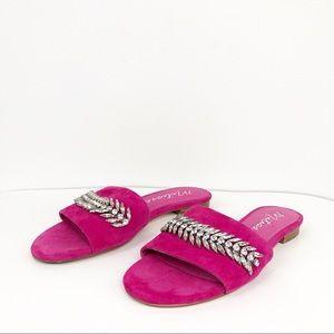 Matisse Millie Pink Flat Leather Slide Sandals